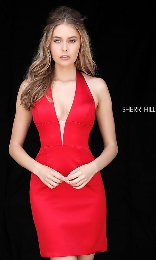 Image of Sherri Hill short halter homecoming party dress. Style: SH-51420 Detail Image 2