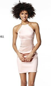 High-Neck Sherri Hill Short Homecoming Sheath Dress