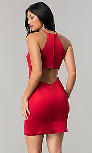 Image of high-neck Sherri Hill short homecoming sheath dress. Style: SH-51421 Back Image