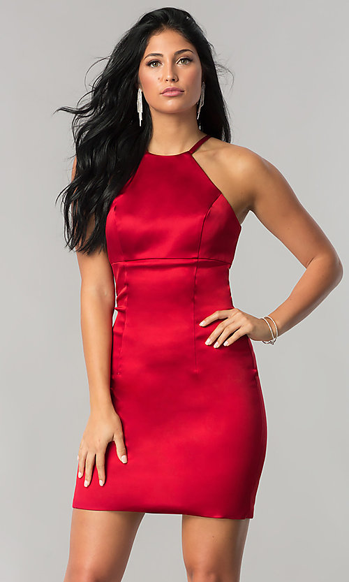 Image of high-neck Sherri Hill short homecoming sheath dress. Style: SH-51421 Front Image