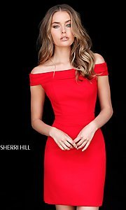 Image of Sherri Hill short off-the-shoulder homecoming dress. Style: SH-51423 Detail Image 1