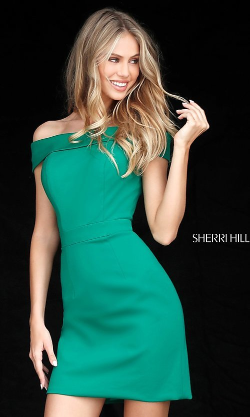 Image of Sherri Hill short off-the-shoulder homecoming dress. Style: SH-51423 Detail Image 2