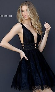 Short Lace Homecoming Party Dress with Deep V-Neck