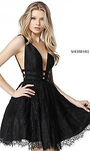 Image of short lace homecoming party dress with deep v-neck. Style: SH-51458 Detail Image 2
