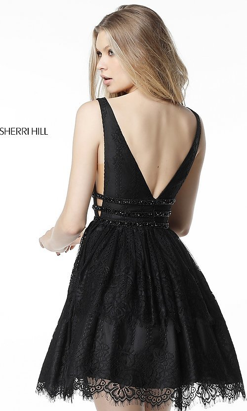 Image of short lace homecoming party dress with deep v-neck. Style: SH-51458 Back Image