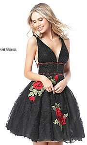 Fit-and-Flare Homecoming Dress with Floral Accents