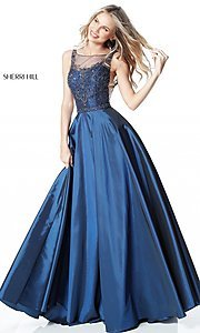 Long Formal Dress with Sheer Sides