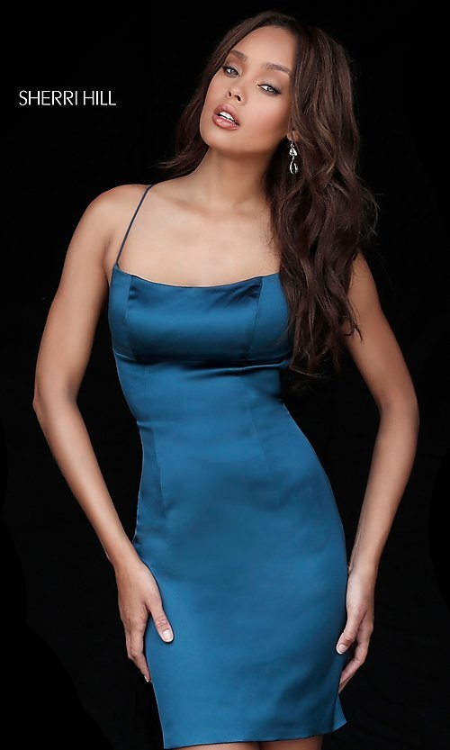 Image of Sherri Hill empire-waist open-back short party dress.  Style: SH-51500 Detail Image 1