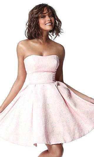 Short Brocade Fit-and-Flare Homecoming Dress