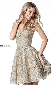 Image of metallic-lace fit-and-flare homecoming dress. Style: SH-51521 Detail Image 1