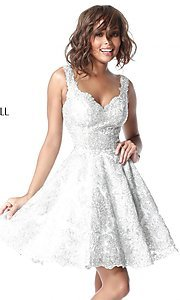 Image of metallic-lace fit-and-flare homecoming dress. Style: SH-51521 Front Image