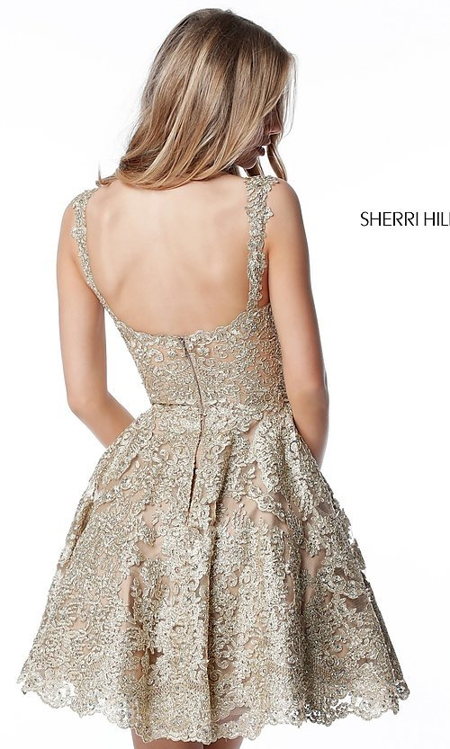 Image of metallic-lace fit-and-flare homecoming dress. Style: SH-51521 Back Image