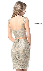 Image of Sherri Hill short metallic-lace homecoming dress. Style: SH-51522 Back Image
