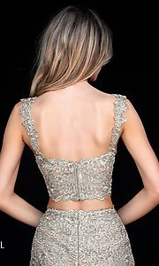 Image of Sherri Hill short metallic-lace homecoming dress. Style: SH-51522 Detail Image 1