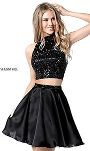 Image of short two-piece open-back high-neck homecoming dress. Style: SH-51540 Front Image