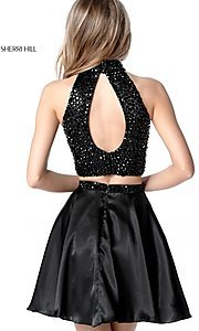 Image of short two-piece open-back high-neck homecoming dress. Style: SH-51540 Back Image