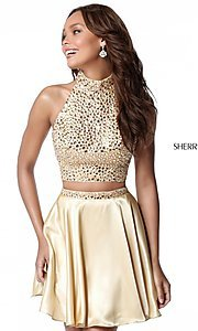 Image of short two-piece open-back high-neck homecoming dress. Style: SH-51540 Detail Image 2
