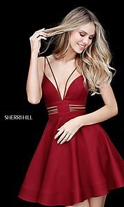Image of Sherri Hill homecoming dress with multi-strap v-neck. Style: SH-S51468 Front Image