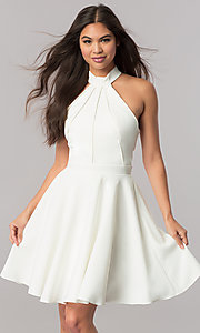 Image of Sherri Hill short homecoming dress with high neck. Style: SH-S51469 Detail Image 3