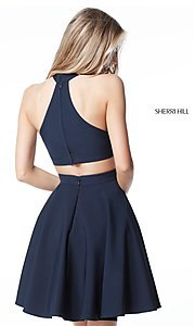 Image of Sherri Hill short homecoming dress with high neck. Style: SH-S51469 Back Image