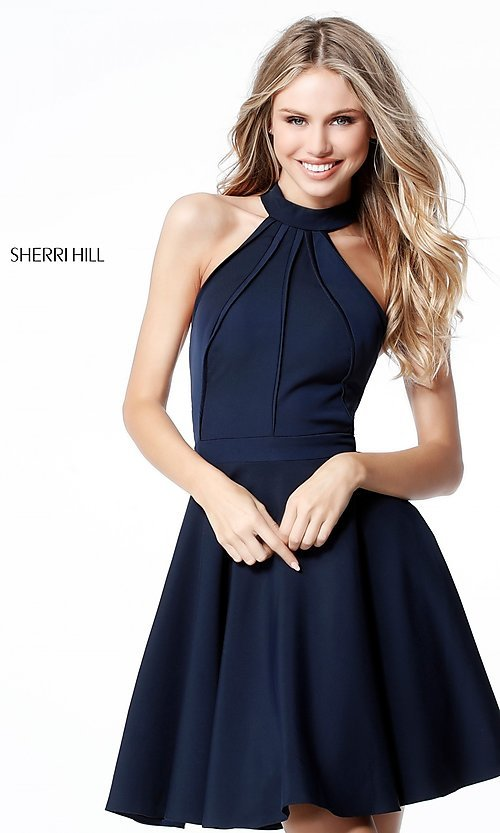 Image of Sherri Hill short homecoming dress with high neck. Style: SH-S51469 Front Image
