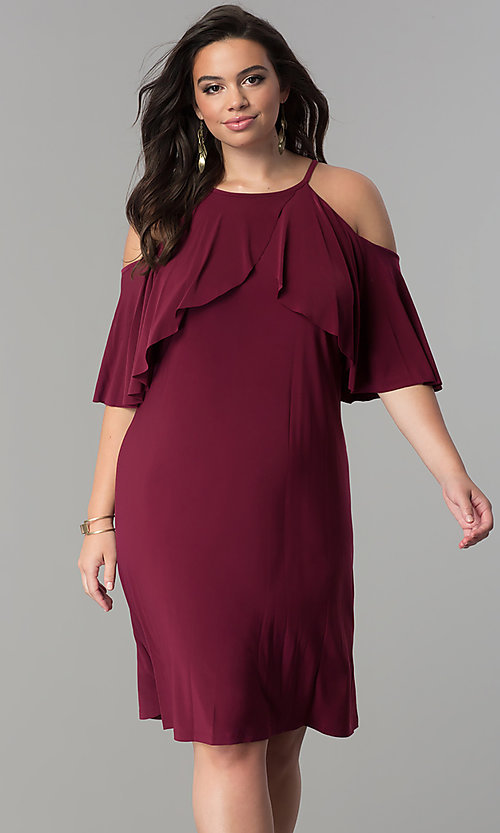 Etonnant Image Of Short Plus Size Wedding Guest Dress With Sleeves. Style: MO