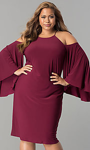 Short Plus-Size Party Dress with Long Angel Sleeves