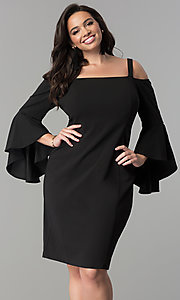 Long Bell-Sleeve Plus-Size Short Party Dress