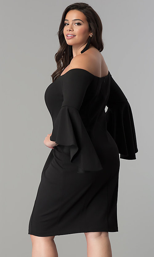 Image of long bell-sleeve plus-size short party dress. Style: MO-8858W Back Image