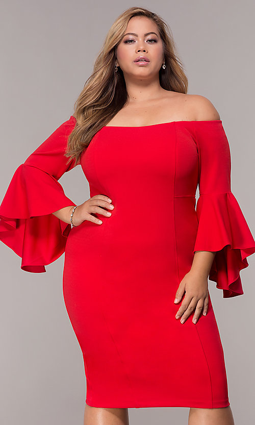 Bell Sleeved Plus Size Short Party Dress Promgirl