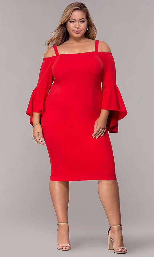 Image of long bell-sleeve plus-size short party dress. Style: MO-8858W Detail Image 1