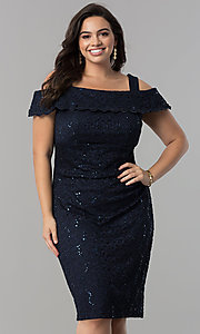 Cold-Shoulder Navy Blue Plus-Size Lace Party Dress