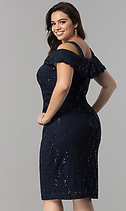 Image of cold-shoulder navy blue plus-size lace party dress. Style: MO-8874W Back Image