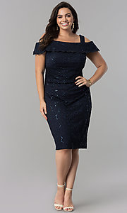 Image of cold-shoulder navy blue plus-size lace party dress. Style: MO-8874W Detail Image 1