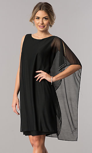 Short Shift Mother-of-the-Bride Dress with Cape