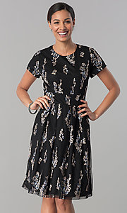 Image of floral-embroidered black party dress with sleeves. Style: SD-S278581 Detail Image 2