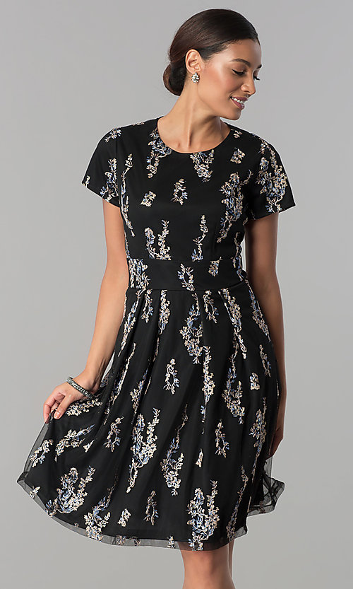 Image of floral-embroidered black party dress with sleeves. Style: SD-S278581 Front Image