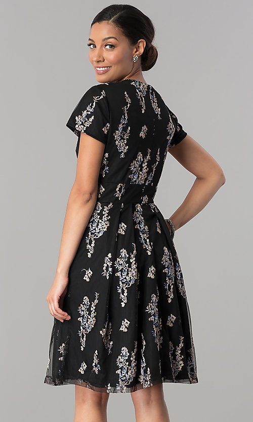 Image of floral-embroidered black party dress with sleeves. Style: SD-S278581 Back Image