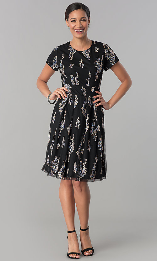 Image of floral-embroidered black party dress with sleeves. Style: SD-S278581 Detail Image 3