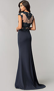 Image of long JVNX by Jovani formal dress with lace applique. Style: JO-JVNX115 Back Image