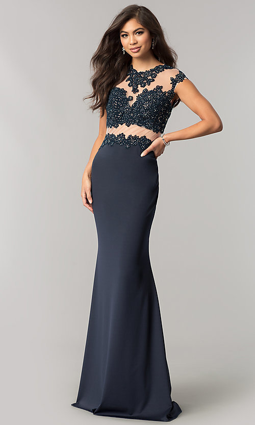 Image of long JVNX by Jovani formal dress with lace applique. Style: JO-JVNX115 Front Image