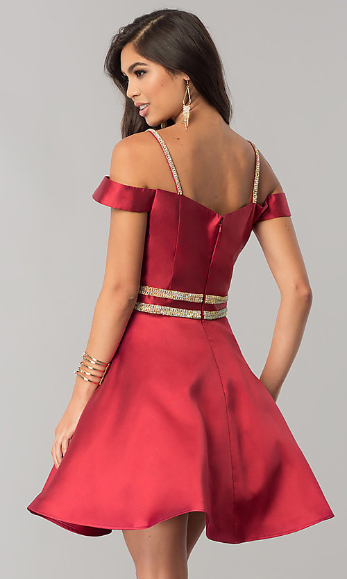 Image of JVNX by Jovani wine red off-shoulder homecoming dress. Style: JO-JVNX57265 Back Image