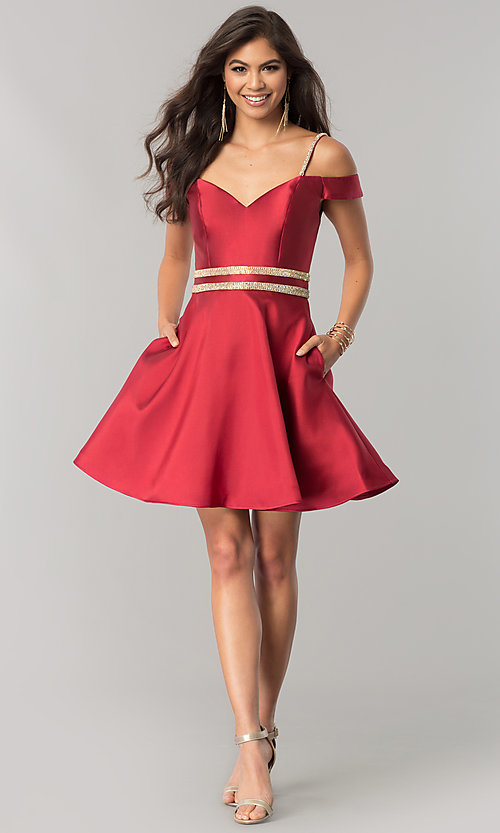 Image of JVNX by Jovani wine red off-shoulder homecoming dress. Style: JO-JVNX57265 Detail Image 1