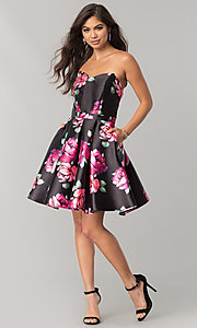 Image of JVNX by Jovani black homecoming dress with print. Style: JO-JVNX58369 Detail Image 1