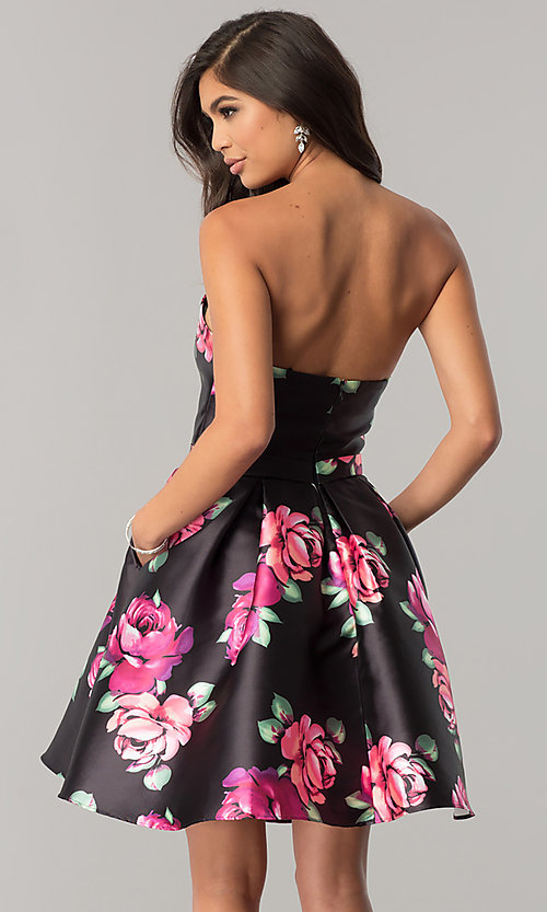 Image of JVNX by Jovani black homecoming dress with print. Style: JO-JVNX58369 Back Image