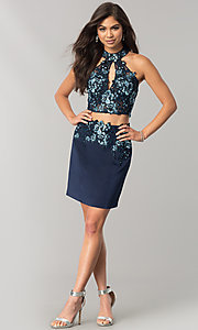 Image of JVNX by Jovani two-piece navy homecoming dress. Style: JO-JVNX41469 Detail Image 1