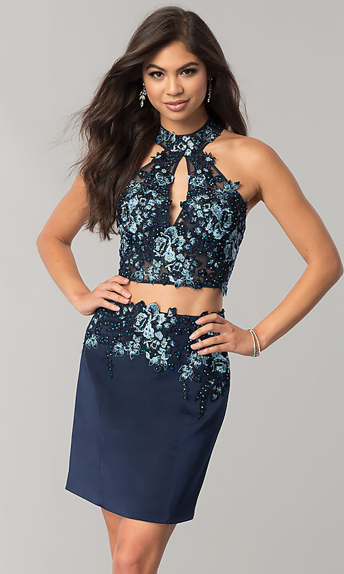 Image of JVNX by Jovani two-piece navy homecoming dress. Style: JO-JVNX41469 Front Image