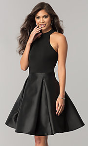 Image of JVNX by Jovani short black homecoming dress. Style: JO-JVNX43019 Front Image
