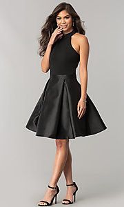 Image of JVNX by Jovani short black homecoming dress. Style: JO-JVNX43019 Detail Image 1