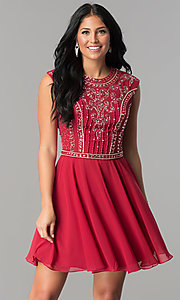 JVNX by Jovani Short Burgundy Red Homecoming Dress
